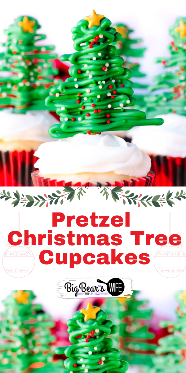 Pretzel Christmas Tree Cupcakes - It's a sweet and salty Christmas treat that everyone will love. These Pretzel Christmas Tree Cupcakes are fun to make and fun to eat!  via @bigbearswife