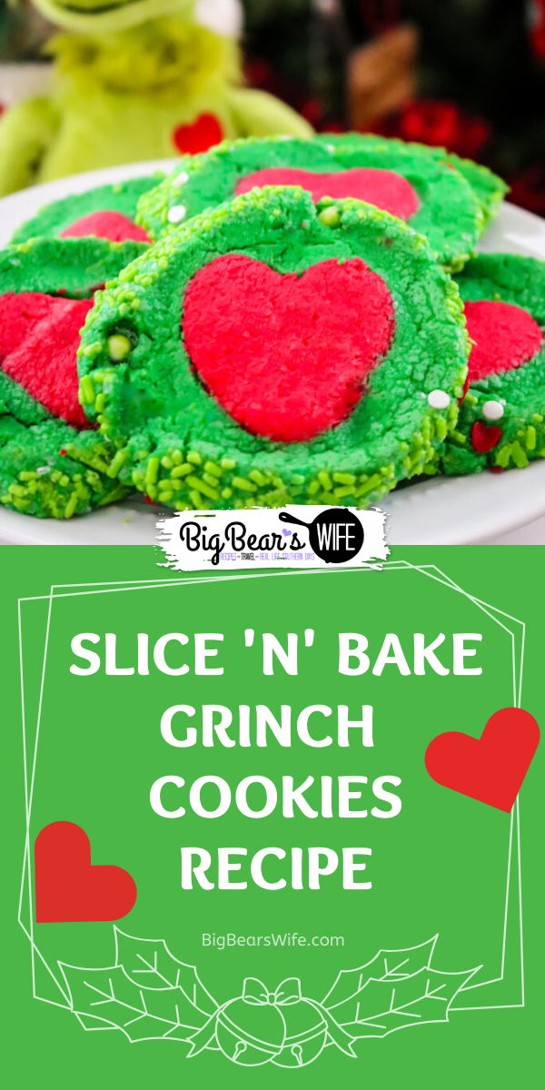 Slice 'N' Bake Grinch Cookies - Homemade Slice 'N' Bake Grinch Cookies are perfect for Christmas and might even make a sweet surprise for Santa!