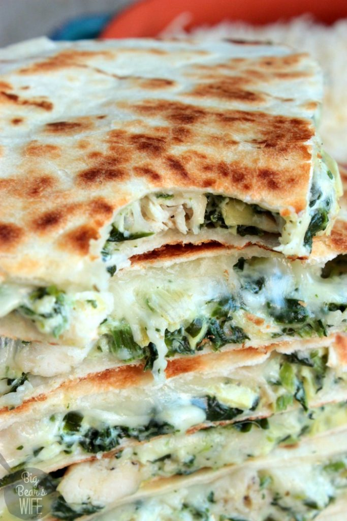 Spinach and Artichoke Chicken Quesadillas