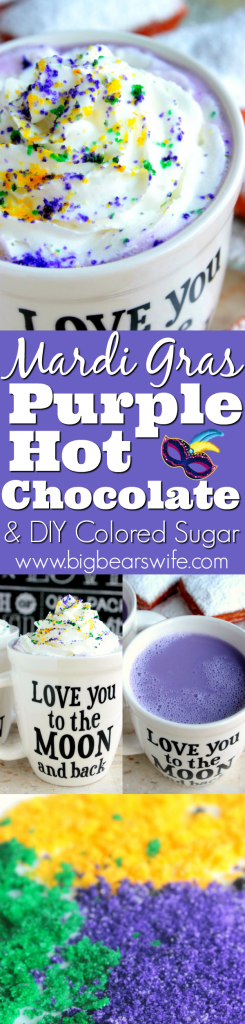 Mardi Gras Purple Hot Chocolate PLUS DIY Colored Sugar