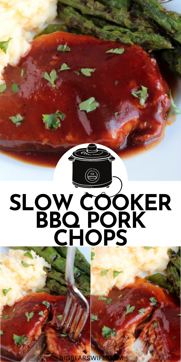 You only need 4 items for theseSlow Cooker BBQ Pork Chops! Ready to make them? Grab some pork chops, BBQ sauce, soda, and a slow cooker! via @bigbearswife