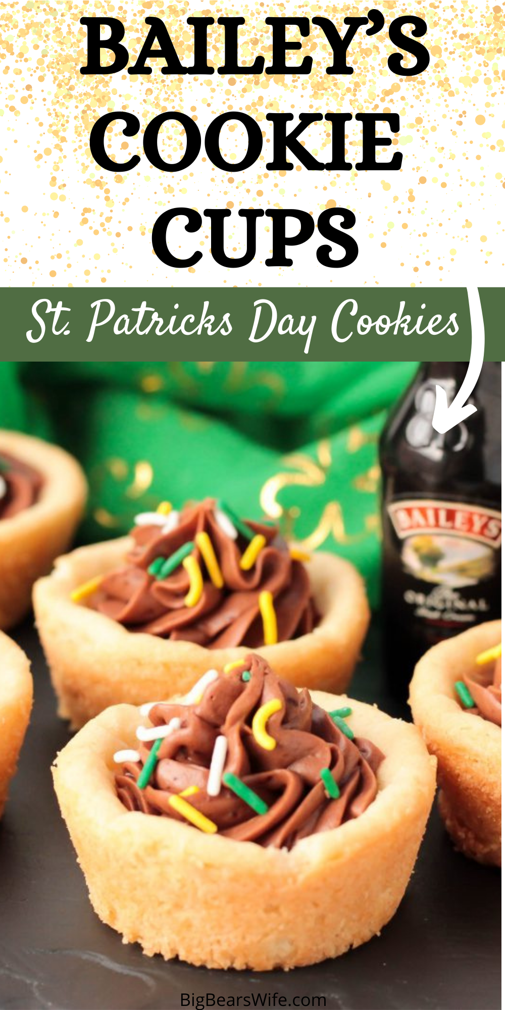 My Bailey's Cookie Cups are made with homemade sugar cookie dough and a sweet Bailey's Irish Cream chocolate frosting filling! Add a little something extra and decorate them with green, white and yellow sprinkles!   via @bigbearswife