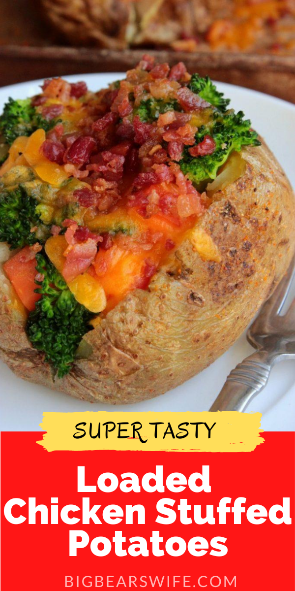 Ready for a dinner that can be ready in about 45 minutes or less? You can stuff theseLoaded Chicken Stuffed Potatoes with any veggies you want!!!
