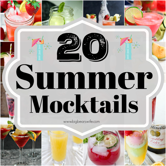 20 Summer Mocktails - Although I'm not a big drinker, I have to admit that I do love to sip on a cocktail ever now and then during the summer months. However, since this pregnant lady won't be sipping on any fruity cocktails this year, I've be on the hunt for the perfect Summer Mocktails! Mocktails are like cocktails but they have no alcohol in them. Perfect!