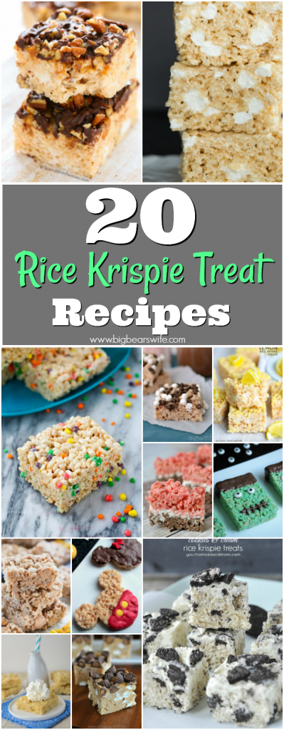 20 Sweet Rice Krispie Treats - Cereal, Melted Marshmallows and Butter pressed into a perfect little treat! What could be better than a homemade rice krispie treat? If you love rice kripsie treats, I can't wait for you to see these 20 Sweet Rice Krispie Treats recipes!