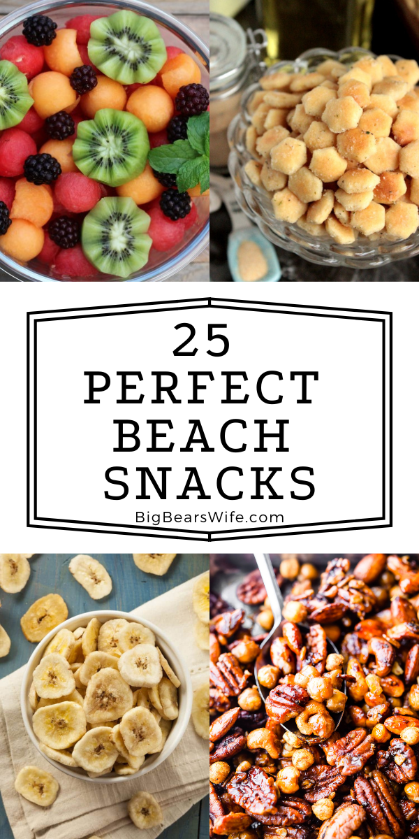 The sun is shinning, the weather is hot and the waves are crashing on the sand! It's time to go to the beach! When you're ready to pack and head to the shore, make sure to pack a few of these beach snacks to keep the family happy while they're playing in the sand! via @bigbearswife