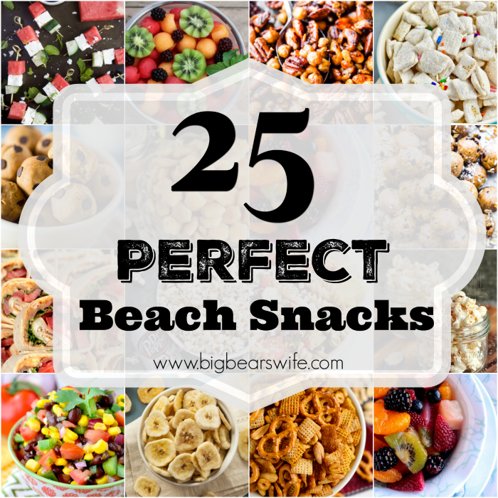25 Perfect Beach Snacks - The sun is shinning, the weather is hot and the waves are crashing on the sand! It's time to go to the beach! When you're ready to pack and head to the shore, make sure to pack a few of these beach snacks to keep the family happy while they're playing in the sand!