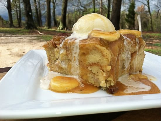 Pineapple Banana Bread Pudding with Banana Caramel Sauce