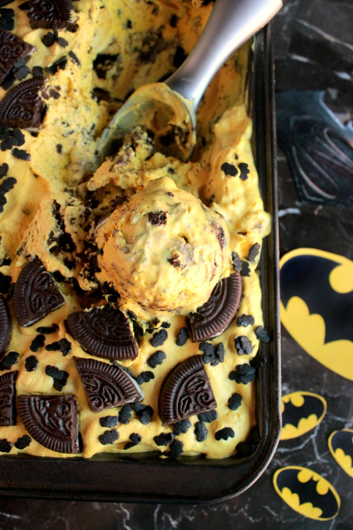 Batman No Churn Ice Cream (Banana and Chocolate Cookie Ice Cream