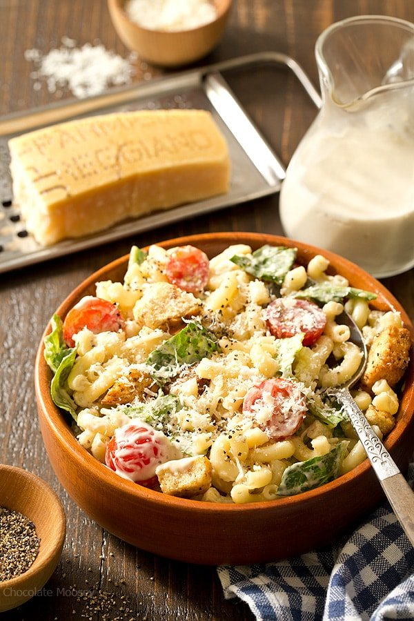 Caesar Macaroni Salad with a homemade Caesar dressing combines traditional Caesar salad and summer macaroni salad into one picnic side dish.