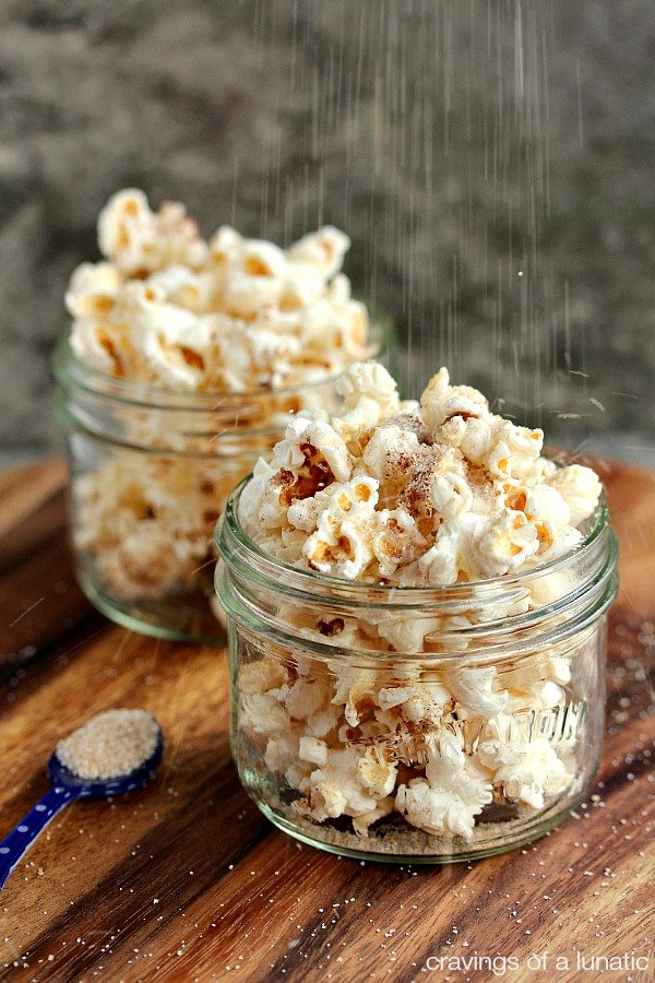 Cinnamon Sugar Popcorn | My special cinnamon sugar mix over top of perfectly buttered fresh popcorn. You are going to love this one!