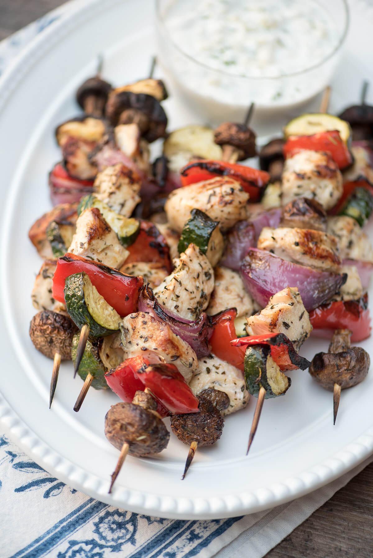 Grilled Greek Chicken Kabobs with Feta Dill Sauce