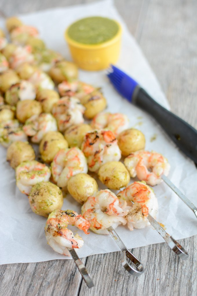 These Pesto Shrimp and Potato Kebabs are made with just a few ingredients and cook quickly on the grill for an easy summer dinner.