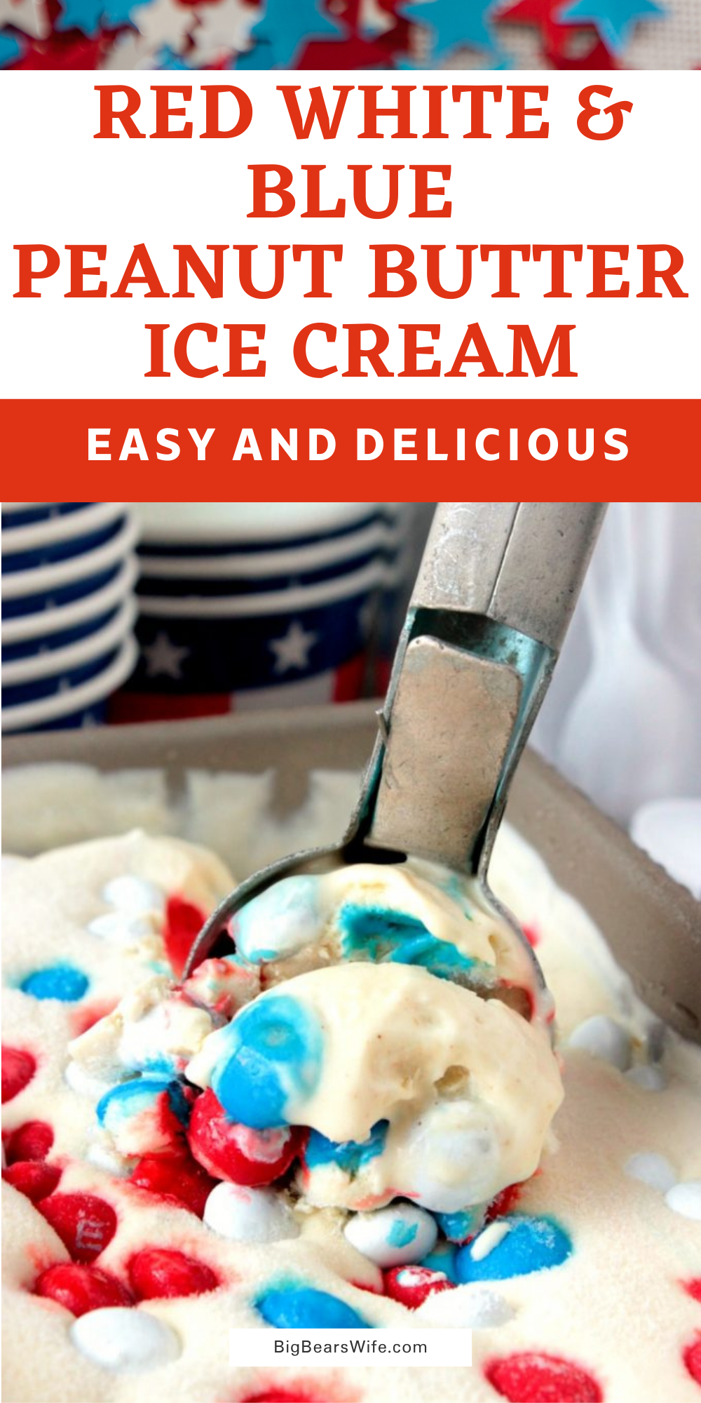 This No ChurnRed White and Blue Peanut Butter Ice Cream is ready for its debut at your next 4th of July cookout! It's creamy peanut butter ice cream loaded with red, white and blue peanut butter M&Ms! via @bigbearswife