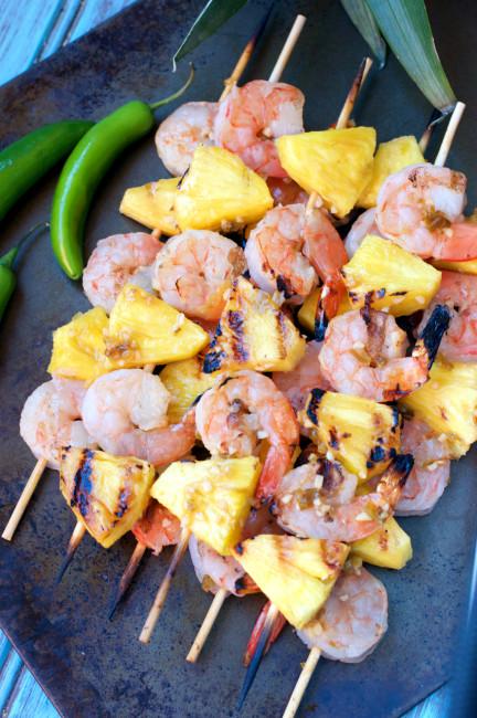 Paleo Chile Pineapple Shrimp Kabobs | Plaid and Paleo
