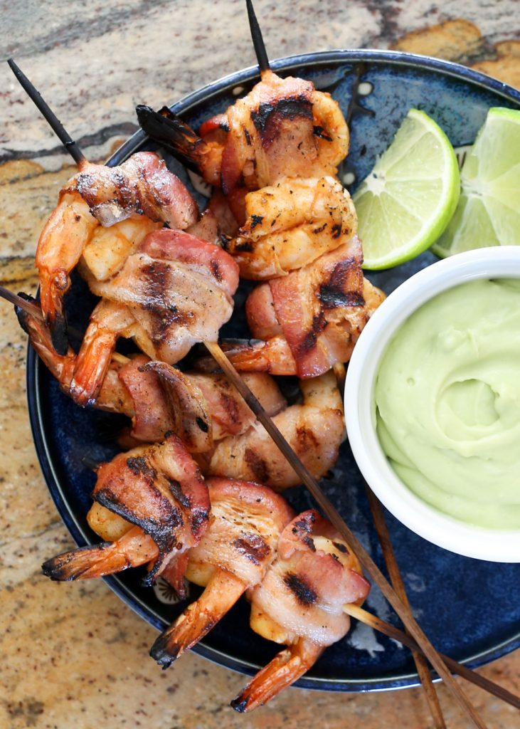 Bacon Wrapped Chipotle Shrimp Kabobs with Avocado Cream Sauce - recipe by Barefeet In The Kitchen