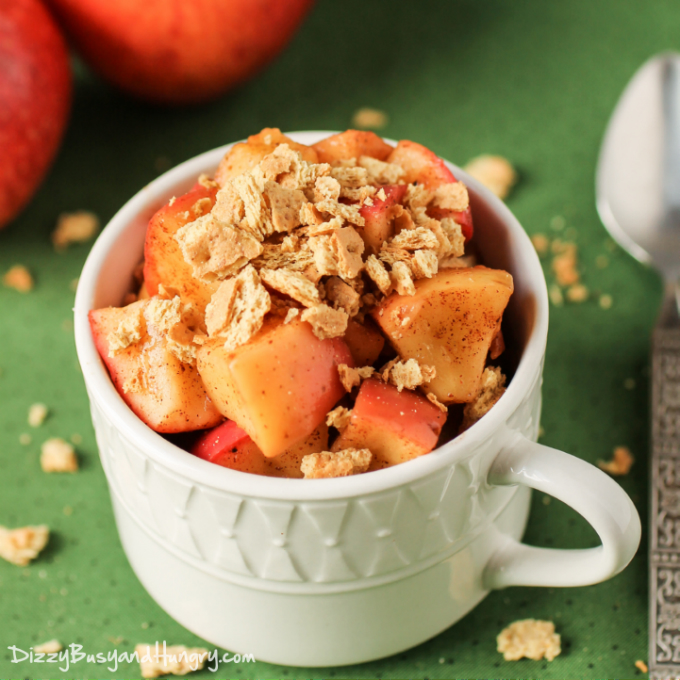 2 Minute Apple Pie Crunch | DizzyBusyandHungry.com - A few ingredients and a couple of minutes are all you need to make this nutritious and tasty snack that is reminiscent of apple pie!