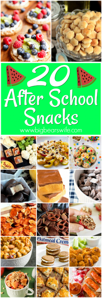 20 Tasty Afternoon Snacks - After School Snacks- Looking for a snack to have ready for the kids when they get home from school? I've got 20 After School Snacks that you and your kiddos are going to love!