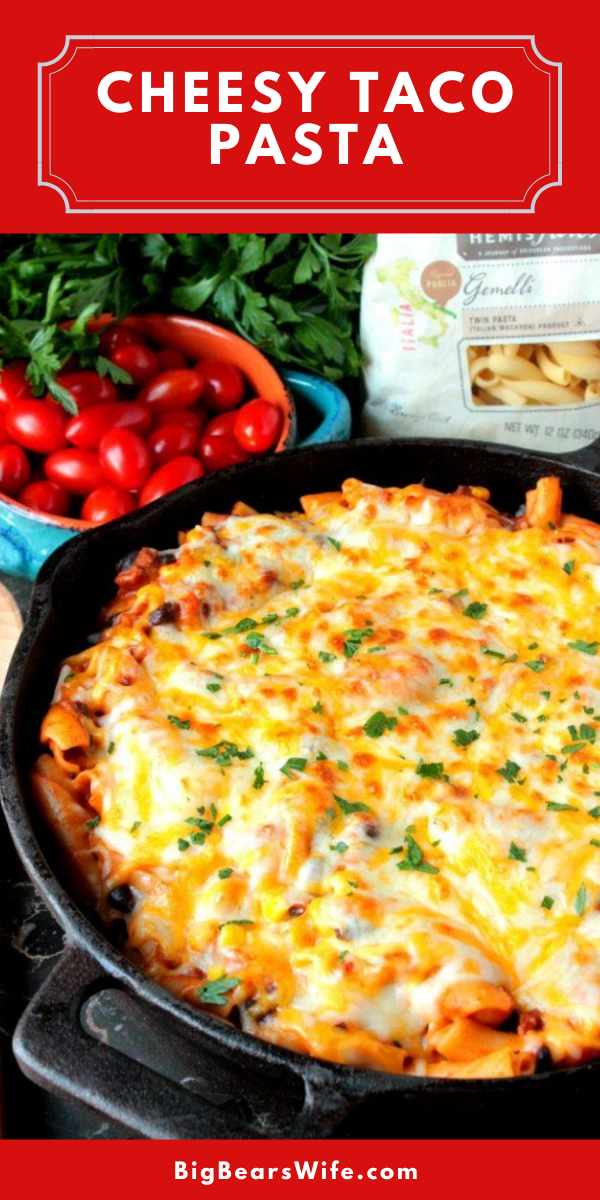 ThisCheesy Taco Pasta is packed full of taco seasoning, sweet corn and seasoned black beans! It's thick, cheesy and perfect for any night of the week! via @bigbearswife