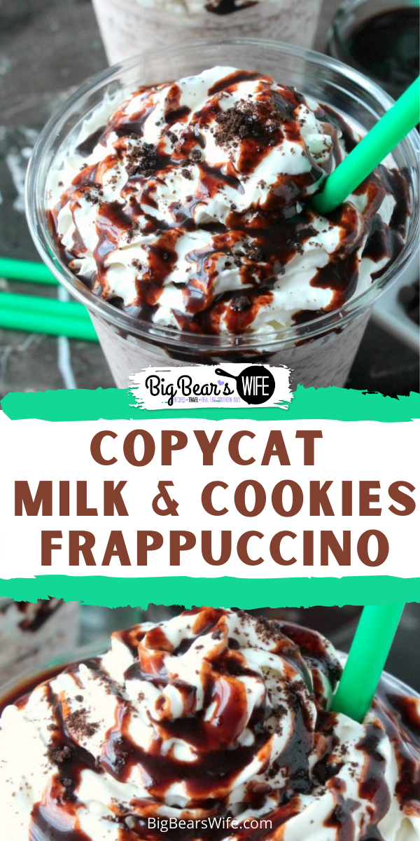 I know that visits to the coffee shop can be relaxing but sometimes it's just nice to stay at home in your PJs and enjoy a drink that you'd normally get from the coffeehouse! ThisCopycat Milk and Cookies Frappuccino is the homemade version of a super popular coffeehouse drink that we've loved for years!! via @bigbearswife