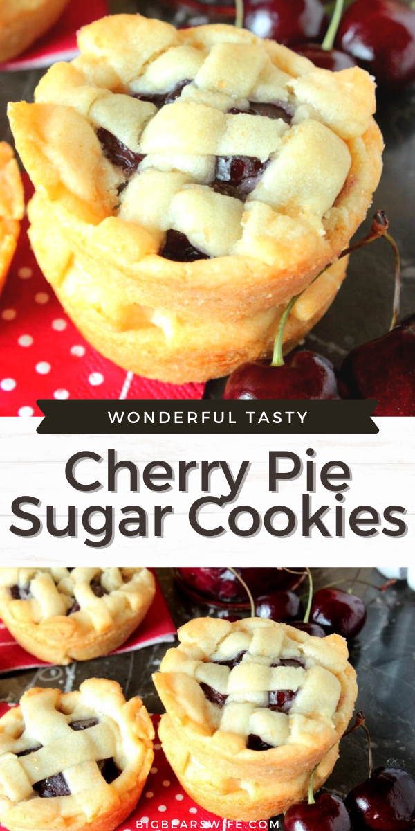 Cherry Pie Sugar Cookies have a soft sugar cookie crust on the outside and a sweet homemade cherry pie filling in the middle.
