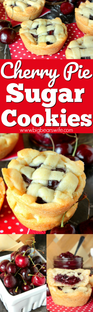 Cherry Pie Sugar Cookies - These cookies have a soft sugar cookie crust on the outside and a sweet homemade cherry pie filling in the middle.