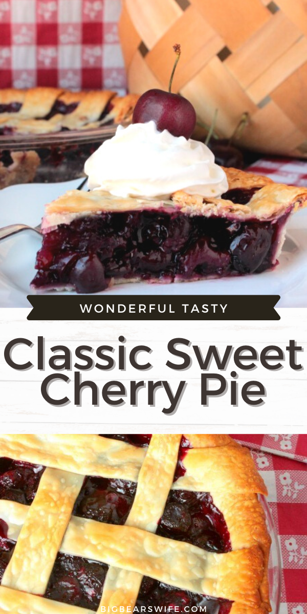 Homemade Cherry Pie Filling inside of perfectly baked lattice pie crust makes for the perfect summer dessert!  Top it with a bit of whipped cream and a few fresh cherries for that classic cherry pie look!
