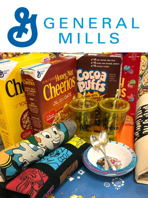 General Mills products with bowls and spoons.