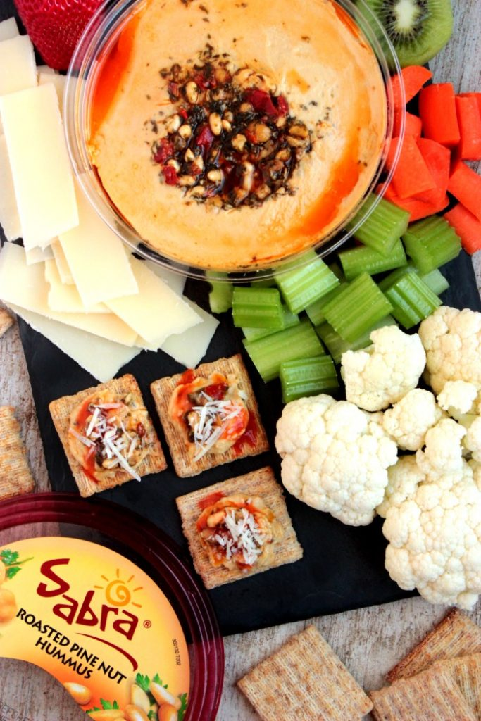Healthy Snack Plate with Hummus Cracker Bites