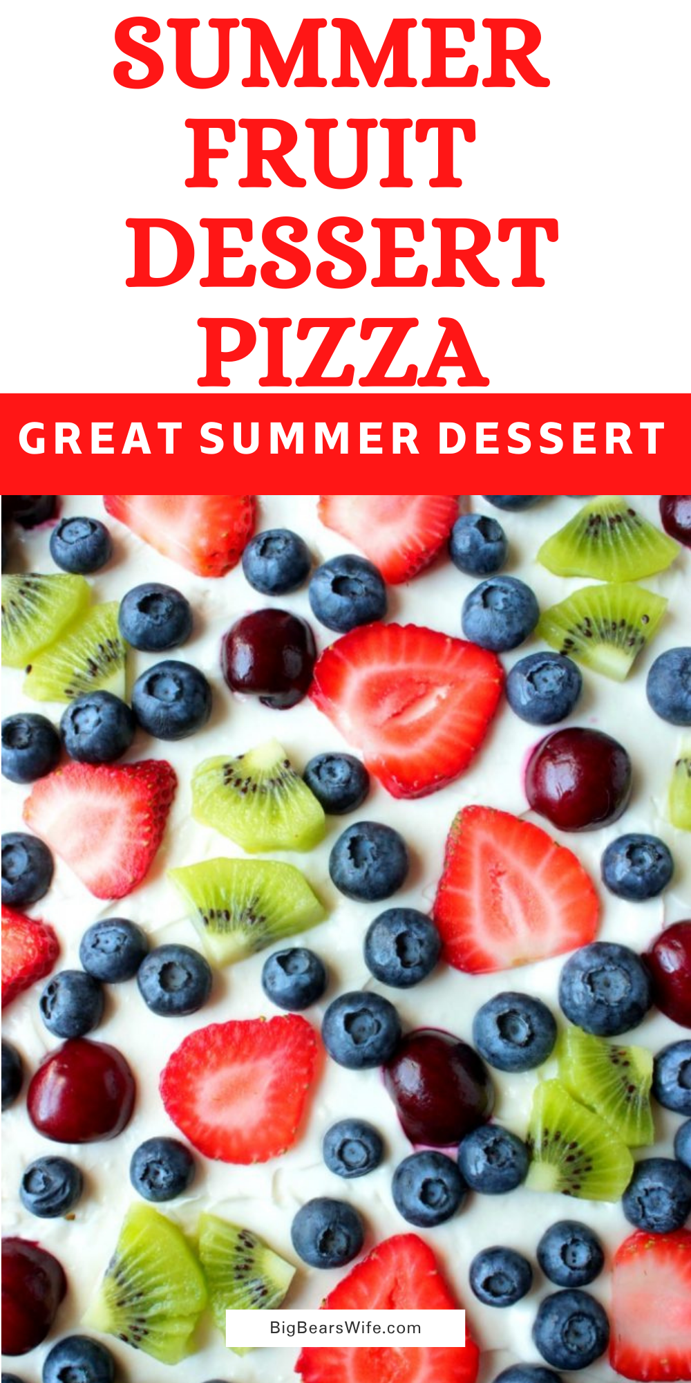 """This Summer Fruit Dessert Pizza is a sweet sugar cookie """"crust"""" with a marshmallow fluff cream cheese spread topped with slices of fresh fruit! via @bigbearswife"""