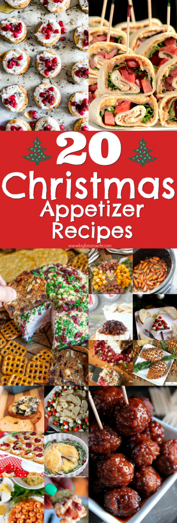 20 Christmas Appetizer Recipes - Ready to set the table for a festive Christmas party and looking for some appetizers to start off the evening? Here are 20 Christmas Appetizer Recipes that will bring on the holiday spirit!