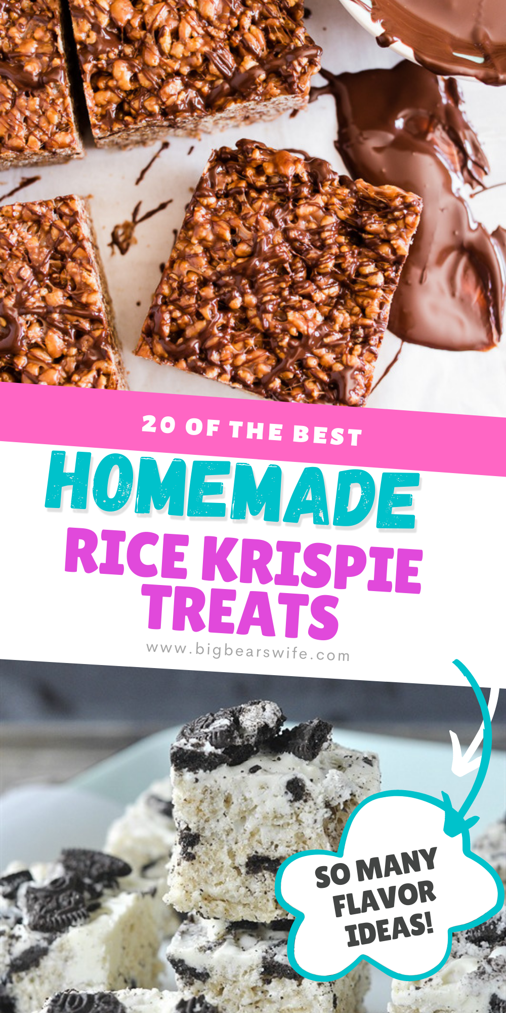Cereal, Melted Marshmallows and Butter pressed into a perfect little treat! What could be better than a homemade rice krispie treat? If you love rice kripsie treats, I can't wait for you to see these20 Sweet Rice Krispie Treats recipes! via @bigbearswife