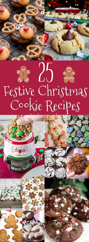 Get into the festive Holiday Spirit with 25 Festive Christmas Cookie Recipes perfect for dessert or gift giving!