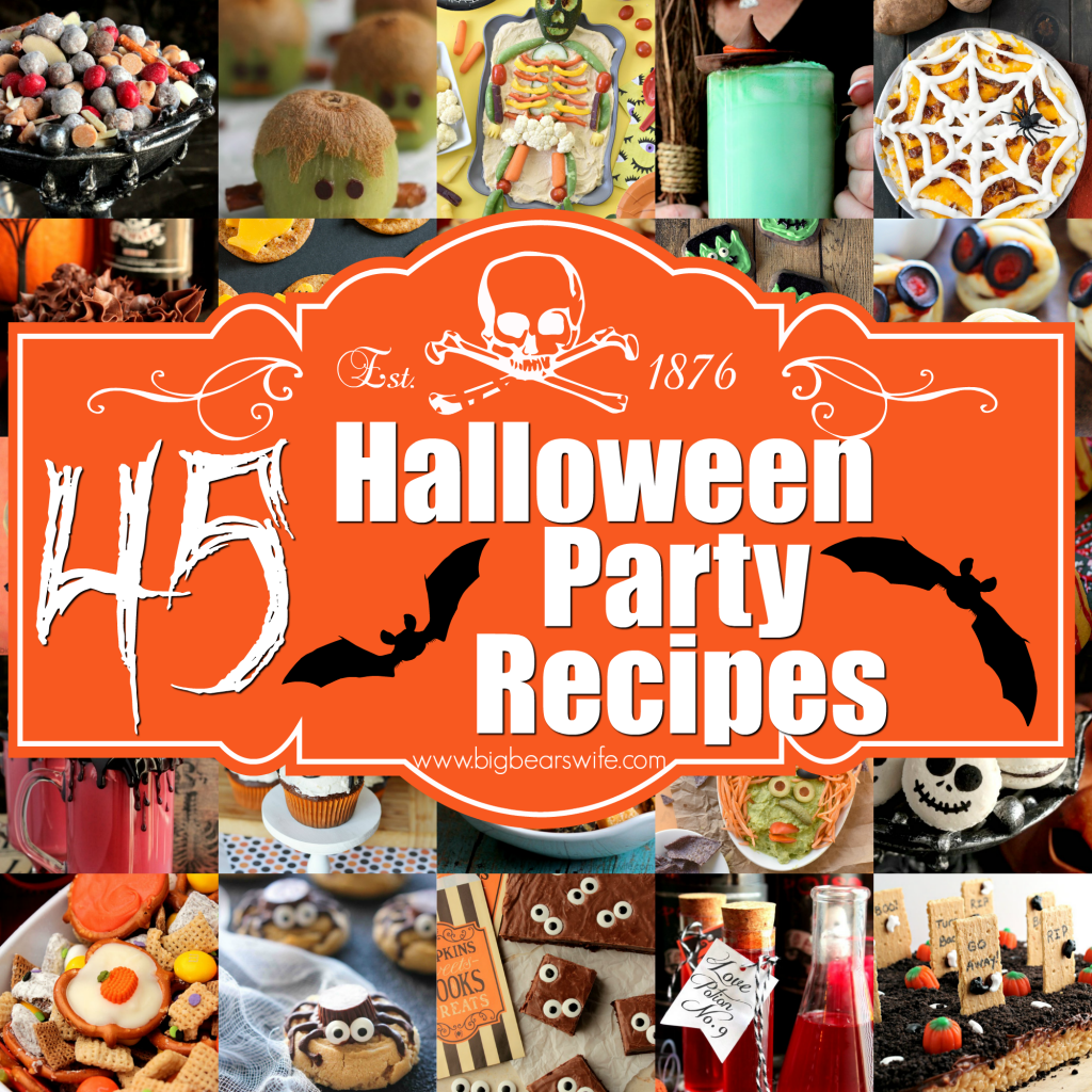 45 Halloween Party Recipes - Planning your Halloween party and wondering about which spooky treats to serve to your guests? We've got the entire menu planned for you! This post is filled with 45 Halloween Party Recipes including sweet dessert recipes, savory snacks and haunting tastyHalloween drink recipes!