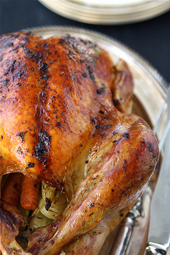Roasted Turkey with Herb Butter and Roasted Shallots Recipe | cookincanuck.com #Thanksgiving