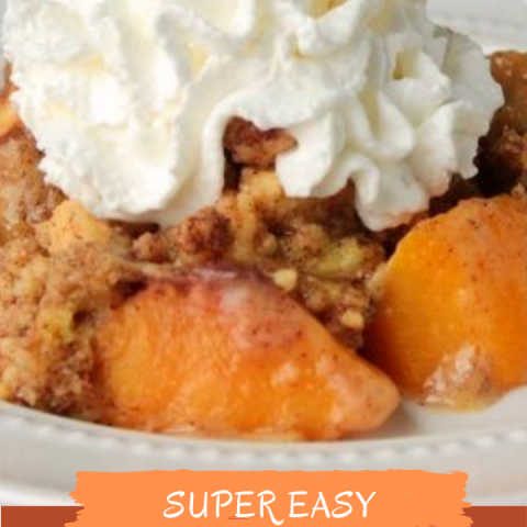 You only need 4 ingredients and 25 minutes of oven time to make this sweetEasy Peach Crisp! It's perfect with whipped cream or vanilla ice cream.