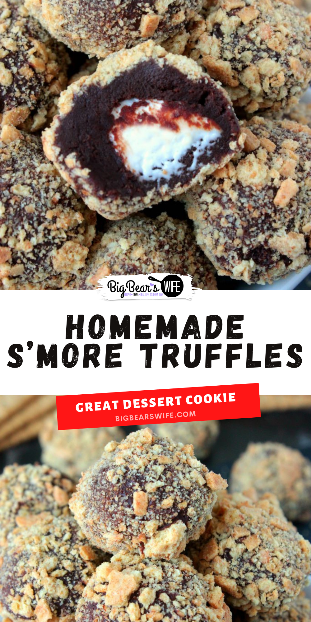 Homemade S'more Truffles - Know a s'more lover in your life? You NEED to send this recipe for Homemade S'more Truffles to them asap! Homemade Chocolate ganache truffles with a marshmallow center that's been rolled in crushed graham crackers is a s'mores lover's dream come true. via @bigbearswife