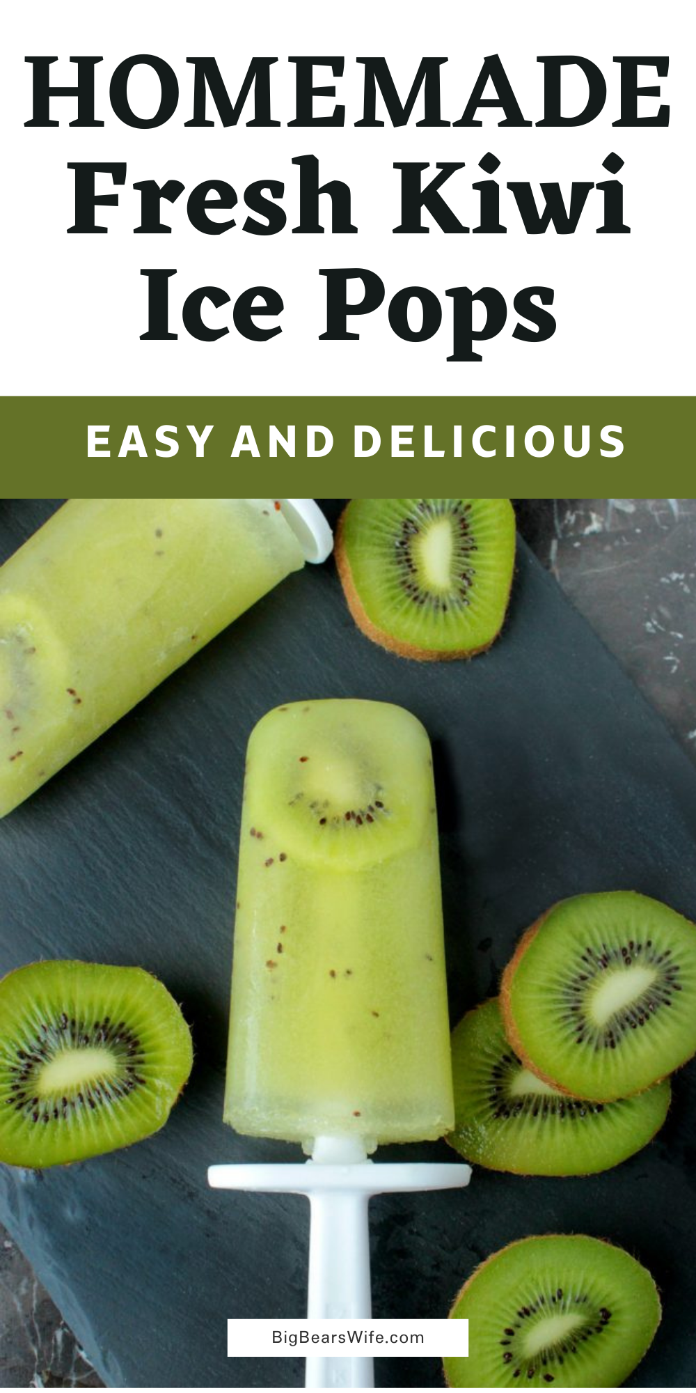 Ready for a super easyfrozen treat to help you cool off this summer? These 3-ingredient FreshKiwi Ice Pops are made with fresh kiwis and sweetened with just a touch of sugar. via @bigbearswife