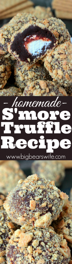 Homemade S'more Truffles - Know a s'more lover in your life? You NEED to send this recipe forHomemade S'more Truffles to them asap! Homemade Chocolate ganache truffles with a marshmallow center that's been rolled in crushed graham crackers is a s'mores lover's dream come true.