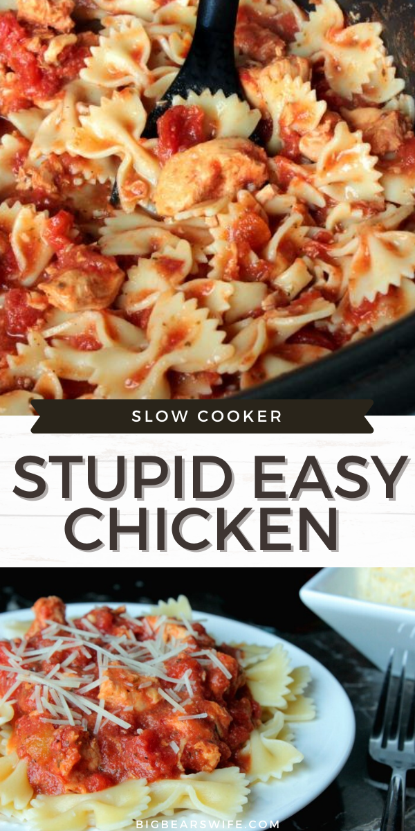 Toni's Slow Cooker Stupid Easy Chicken is super easy, has only 5 ingredients in the entire recipe and cooked in the slow cooker! Just boil some pasta before you're ready to eat and dinner is done!