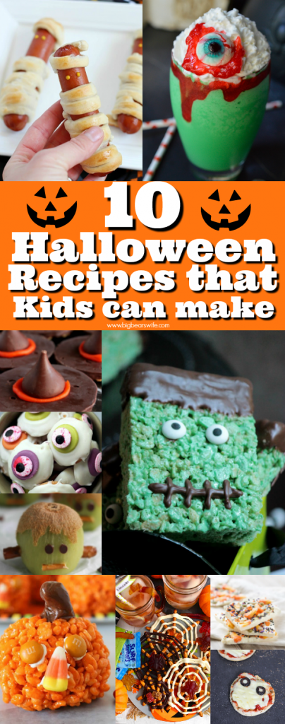10 Halloween Recipes that Kids can make - Do the kids in your life love to get in the kitchen with you? These are 10 Halloween Recipes that Kids can make in the kitchen with little to no help!