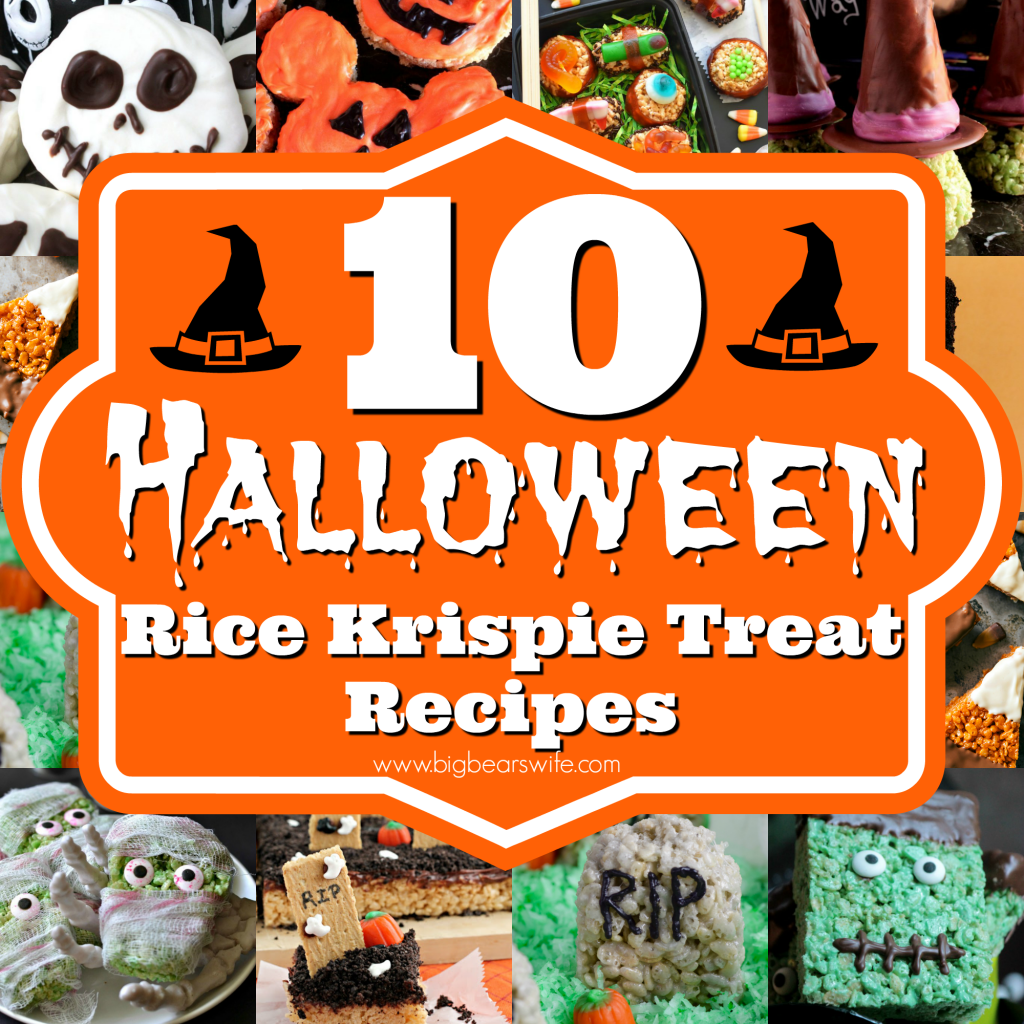10 Halloween Rice Krispie Treat Recipes - Need a treat that spooky for Halloween but perfect for your sweet tooth? These10 Halloween Rice Krispie Treat Recipes will hit the spot!