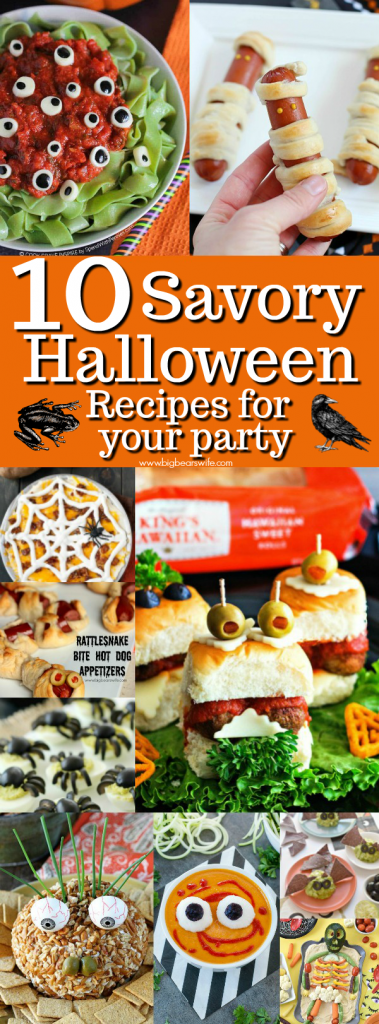 10 Savory Halloween Recipes for your party - There are tons of sweet Halloween desserts out there but you still need some savory Halloween recipes for your Halloween party!
