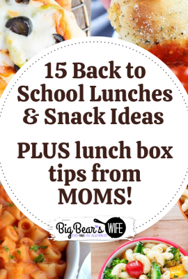 15 Back to School Lunches, Lunch Box Snack Ideas PLUS lunch box tips from MOMS! -- Racking your brain on what to pack in your kid's lunch box before they head off to school? I've got 15 Back to School Lunches that you can pack, plus some lunch box snack ideas and lunchbox tips from moms!