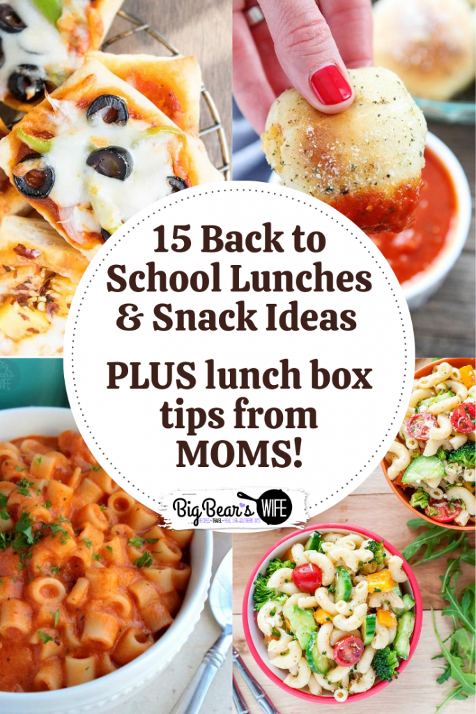 15 Back to School Lunches, Lunch Box Snack Ideas PLUS lunch box tips from MOMS! -- Racking your brain on what to pack in your kid's lunch box before they head off to school? I've got15 Back to School Lunches that you can pack, plus some lunch box snack ideas and lunchbox tips from moms!