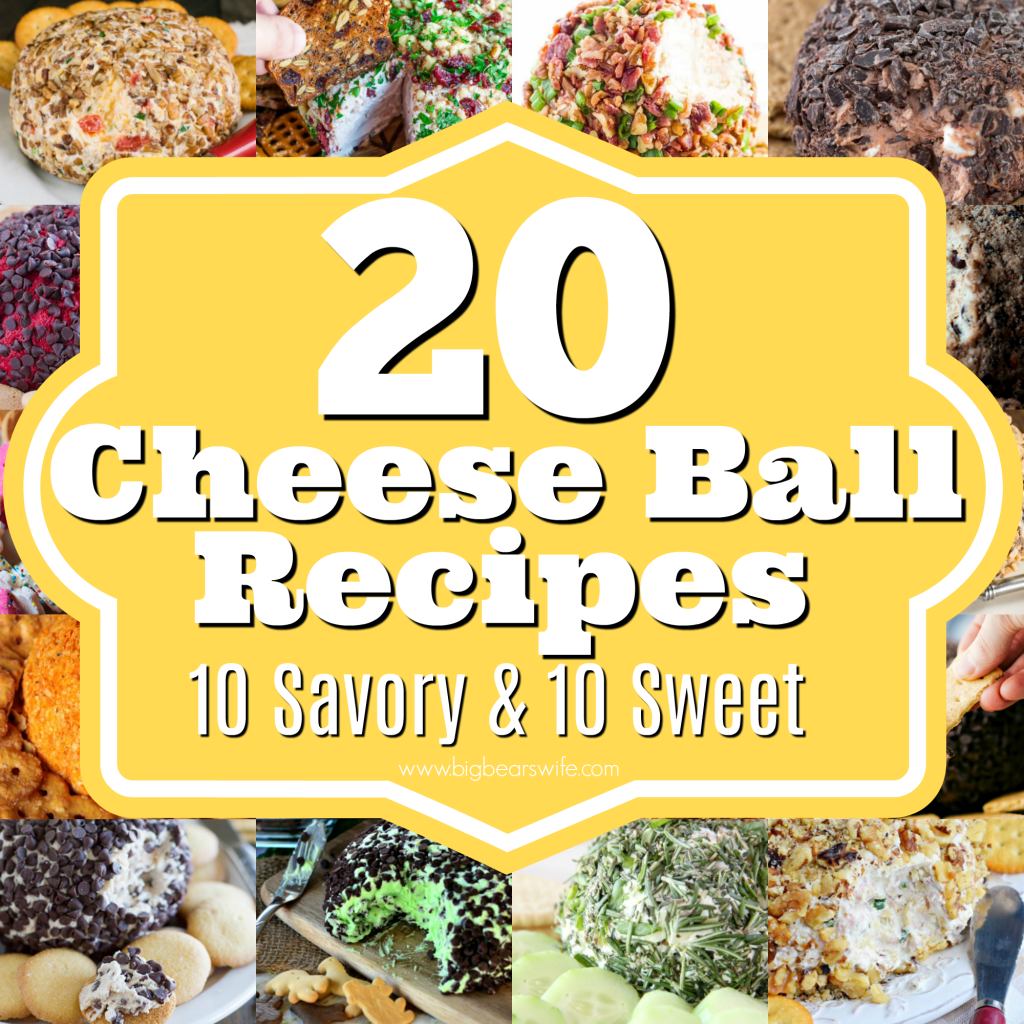20 Cheese Ball Recipes - Cheese Balls are easy to make and they're always a hit at parties and holiday dinners! Ready for some great recipes? Here are 20 Cheese Ball Recipes - 10 Savory Cheese Ball Recipes and 10 Sweet Cheese Balls Recipes!