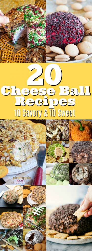 20 Cheese Ball Recipes - Cheese Balls are easy to make and they're always a hit at parties and holiday dinners! Ready for some great recipes? Here are20 Cheese Ball Recipes - 10 Savory Cheese Ball Recipes and 10 Sweet Cheese Balls Recipes!