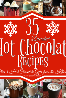 35 Decadent Hot Chocolate Recipes Plus 3 Hot Chocolate gifts from the kitchen - Need a little something to warm you up during these cold winter nights? Here you'll find 35 Decadent Hot Chocolate Recipes Plus 3 Hot Chocolate gifts from the kitchen! There is also a little information on how to set up your own holiday Hot Chocolate Bar!
