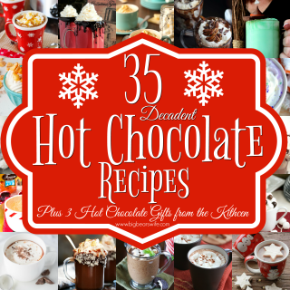 35 Decadent Hot Chocolate Recipes Plus 3 Hot Chocolate gifts from the kitchen - Need a little something to warm you up during these cold winter nights? Here you'll find35 Decadent Hot Chocolate Recipes Plus 3 Hot Chocolate gifts from the kitchen! There is also a little information on how to set up your own holiday Hot Chocolate Bar!