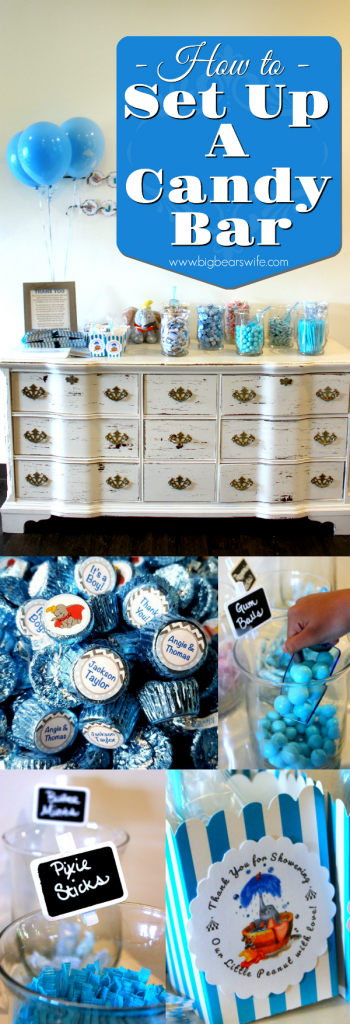 How to Set up a Candy Bar for Party Favors - Need a great favor idea for a baby shower, wedding or birthday party? A Candy Bar is the perfect idea for favors, as you can customize it to match any theme or party color combo!
